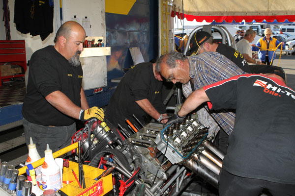 Team working on a nitro motor