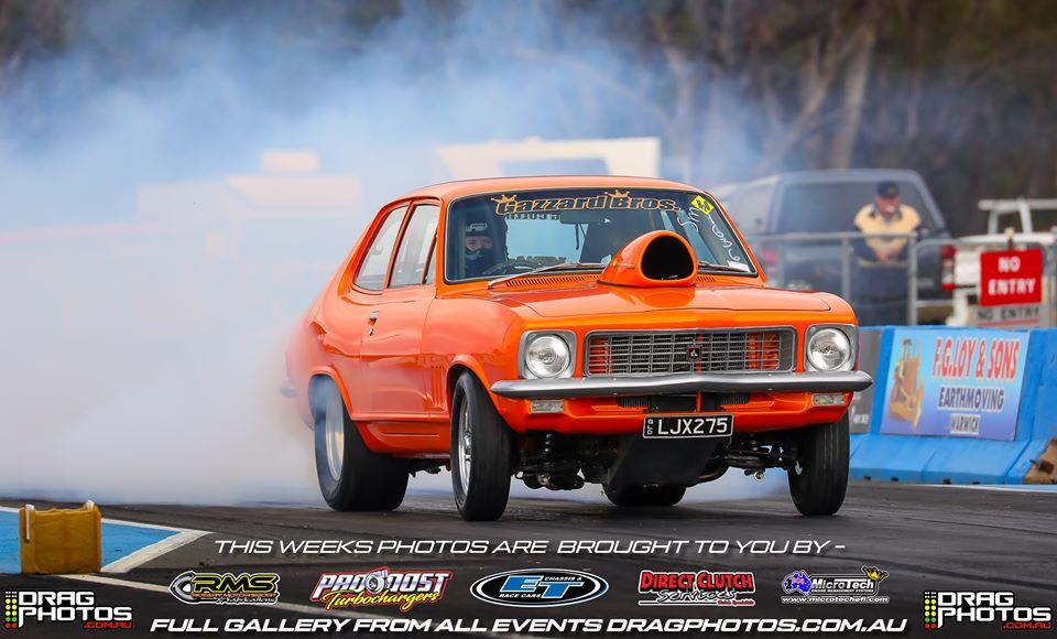 Holden Torana doing burnout at drag race at Warwick Dragway
