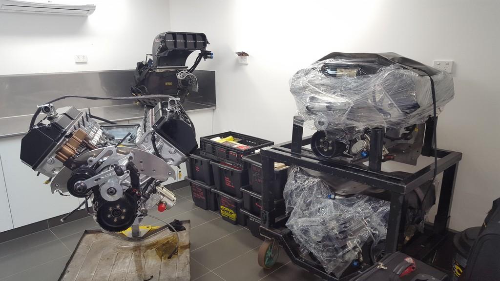 Drag racing engines in workshop