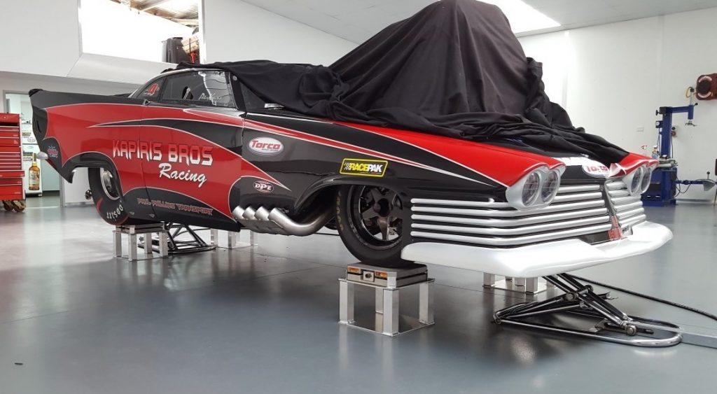 Peter Kapiris Chrysler Saratoga Top Doorslammer in workshop