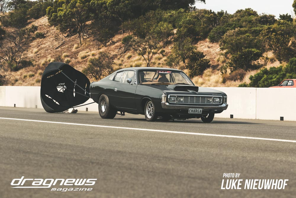 Craig Moar's Valiant Charger with the parachute out.