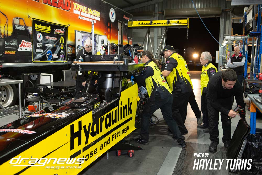Jim Read Racing team working on Hydraulink dragster.