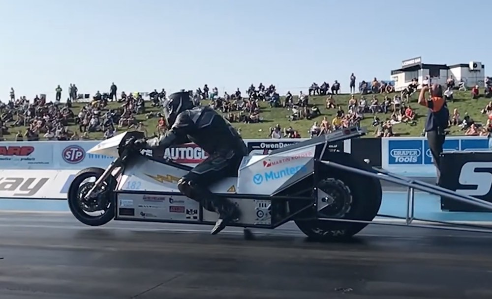 Electric drag bike quarter mile world record holder